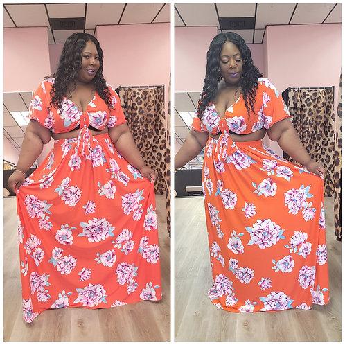 Plus Aloha Skirt Set