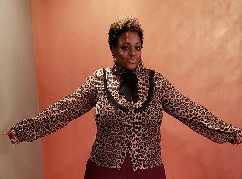 Curvy Sheer Necktie Leopard Blouse