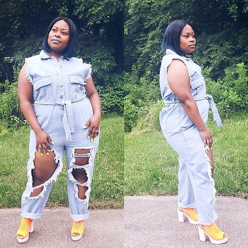 Curvy Girl Denim Jumpsuit