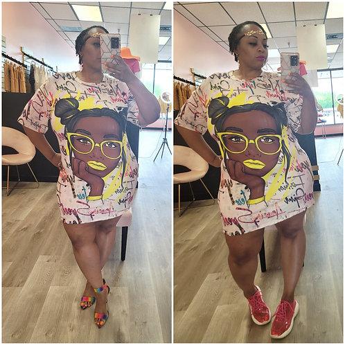 Black Girl Poppin T-shirt Dress