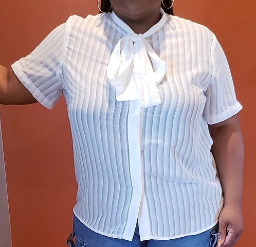 Curvy Girl Sheer Necktie Blouse