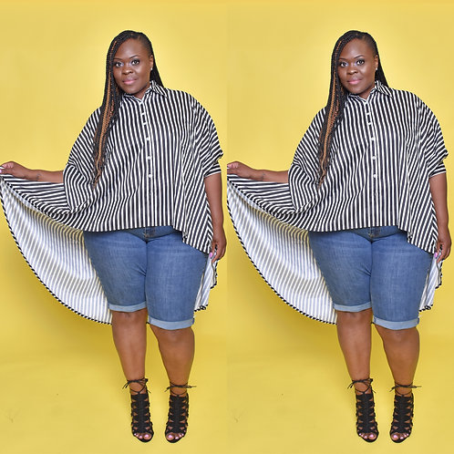 Pin Stripe Over-sized Top