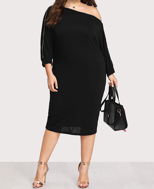 Curvy Girl Zip Sleeve Dress