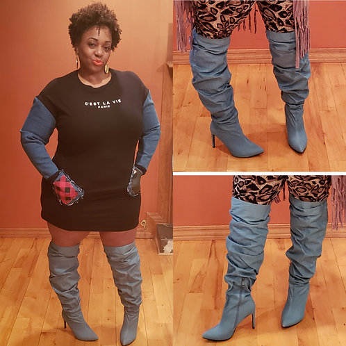 Denim Ruched Pointy Toe Thigh Highs