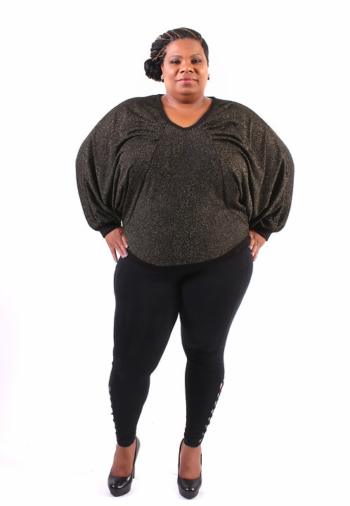 Curvy Girl Shimmery V Neck Sweater