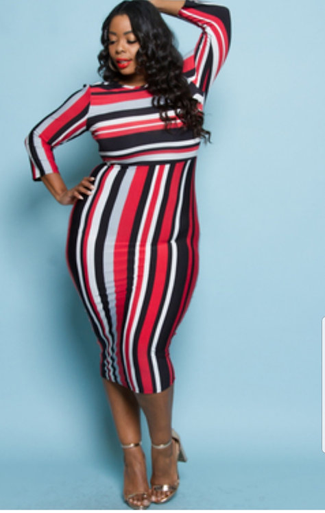 Curvy Girl Stripe Fitted Midi Dress