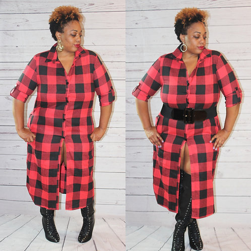 Plaid Duster/Dress (Available in Plus)