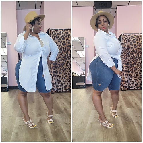Poplin Fitted Tunic (Plus Size Available)