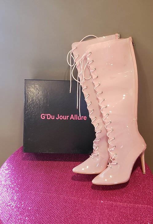 Clear Pink Lace Up Boot