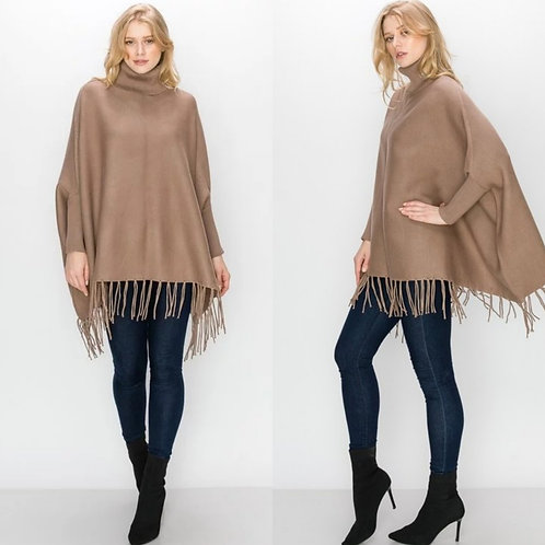 Pull Over Fringed Poncho