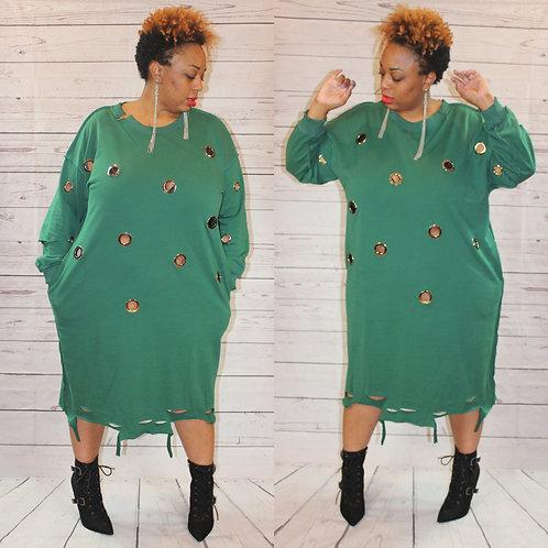 Oversized Distressed Dress