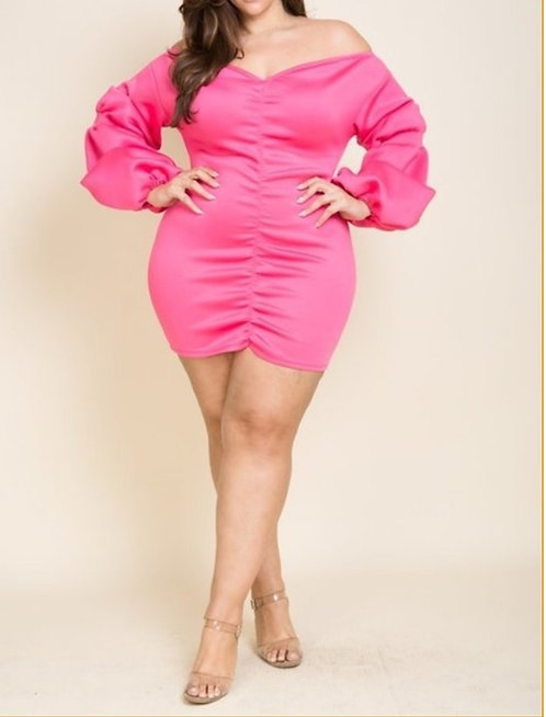 Curvy Girl She's Arrived Ruched Dress