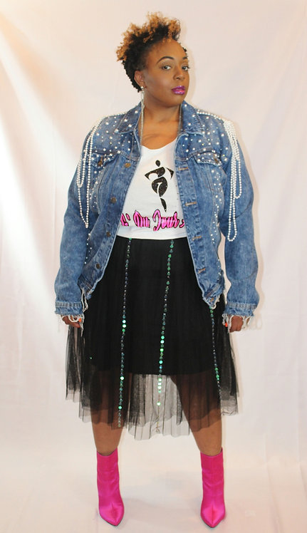 Gauze/Mesh Sequin Skirt