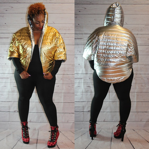 Shimmer Reversible Zippered Poncho