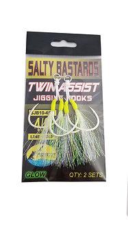 Salty Bastards Glow Twin Assist Jigging Hooks Set of 2…