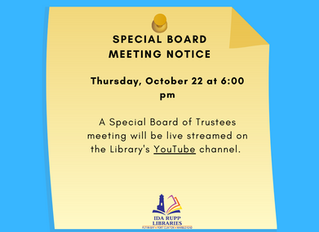 NOTICE: Special Board Meeting