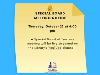 NOTICE: Special Board Meeting