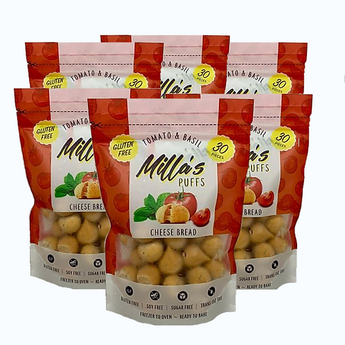 Milla's Puffs Box of 6 Pouches (Tomato & Basil: Cocktail Size)
