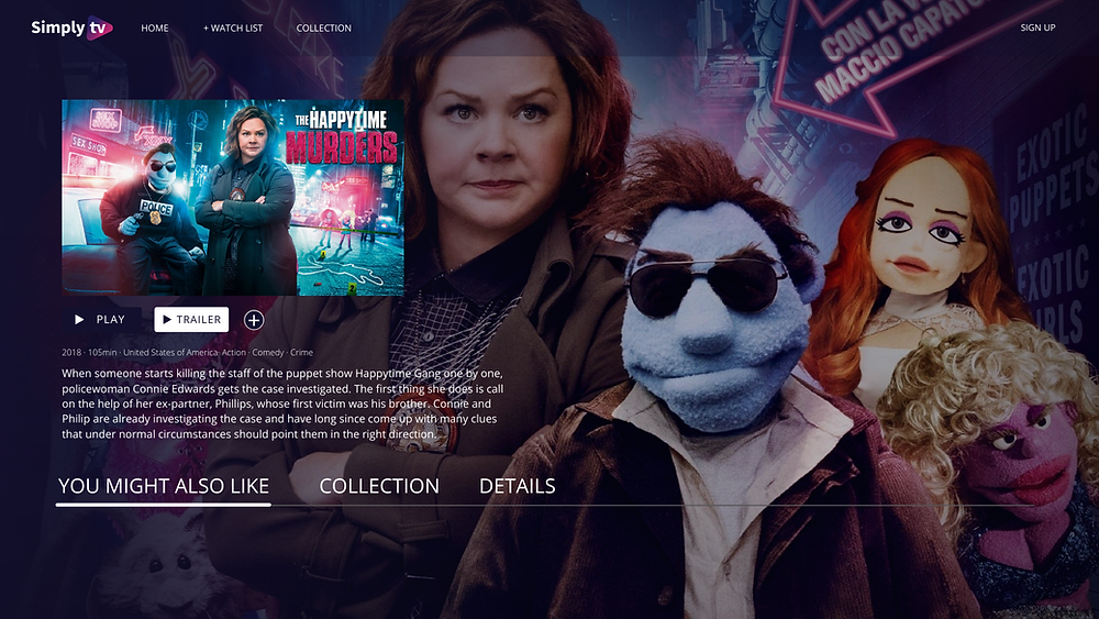 User interface showing the metadata of The happytime murders, comedy crime from 2018. Visible data are year of production , genre, country and the description.