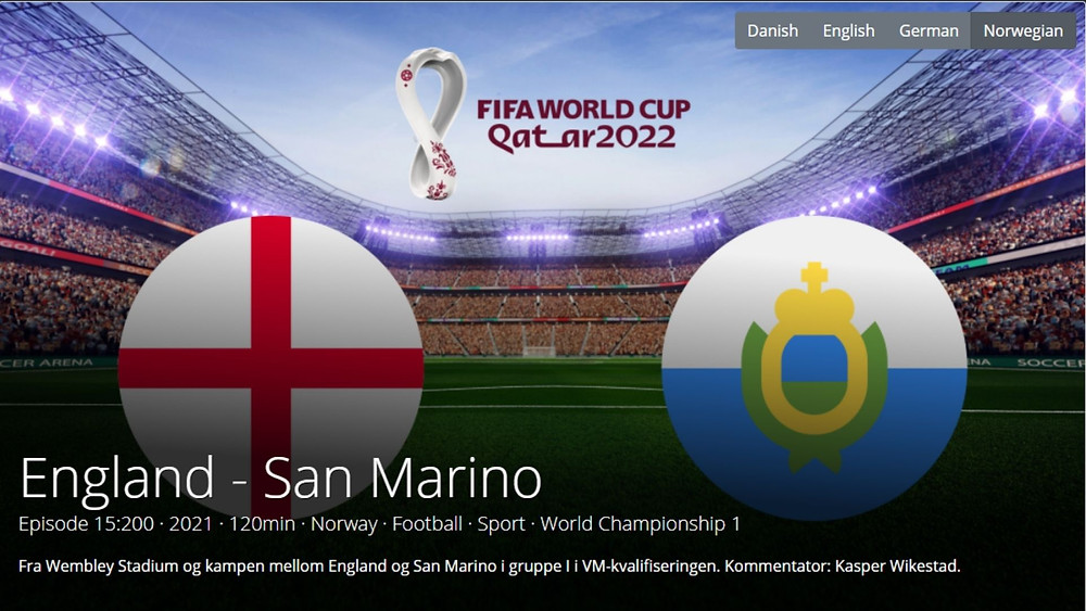 Metadata editorial interface showcasing the match between England and San Marino - FIFA World Cup 2022 with various metadata of country, language, commentator, duration