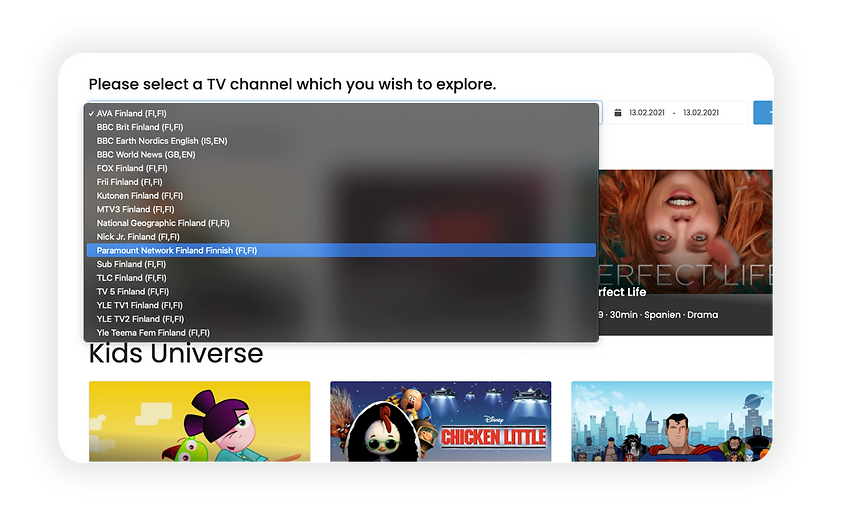 Metadata and EPG access point - TV channels list