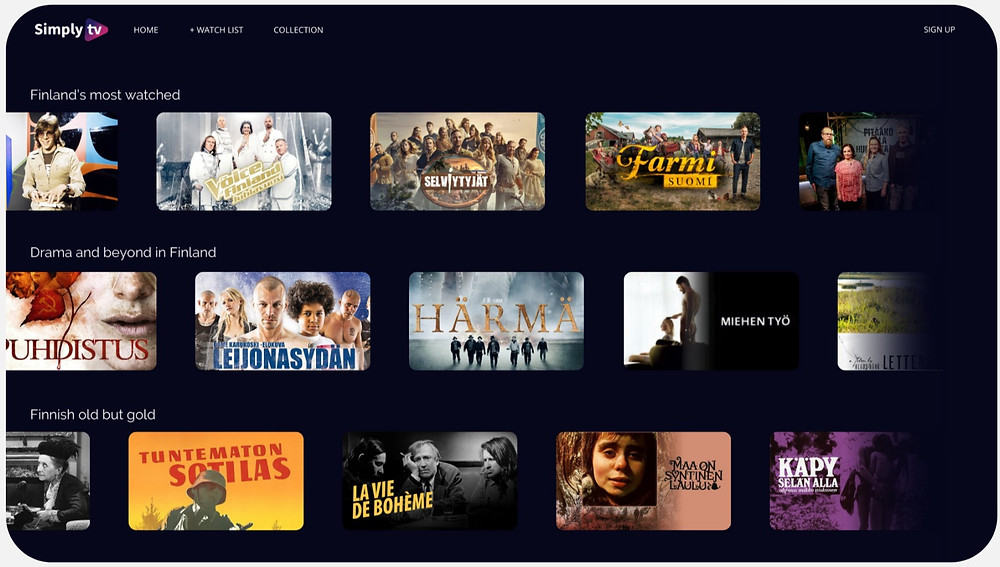 Content Carousels showing TV metadata for the Finnish market, Finnish movies metadata
