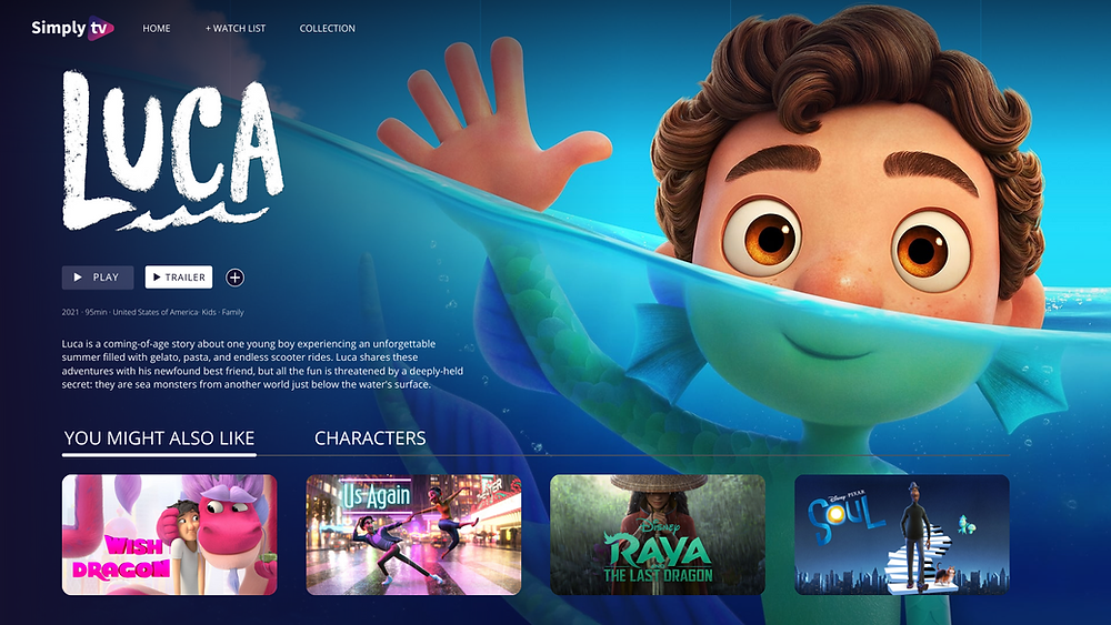 Kids metadata interface, showcasing Luca, Disney production 2021, where the description, genres, duration and production year are displayed