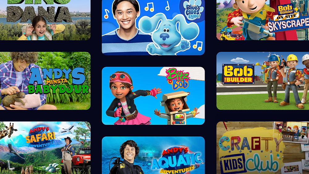 TV Metadata on kids educational content showcasing: Dino Dana, Bob the builder, Blue´s Clues & you, Andy´s minsta babydjur, Andy´s Safari adventures and Crafty kids club