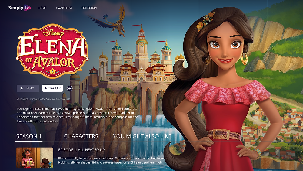Kids metadata interface showing Elena of Avalor, Disney Production, where the duration, production year, genres, production country, description and episode guide are displayed.
