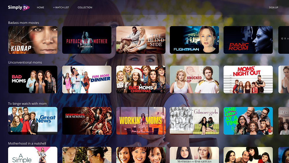 TV user interface for metadata showing images metadata, movies organised into content carousels, powered by keywords