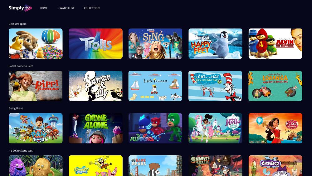Kids metadata interface showcasing kids shows segmented in content carousels