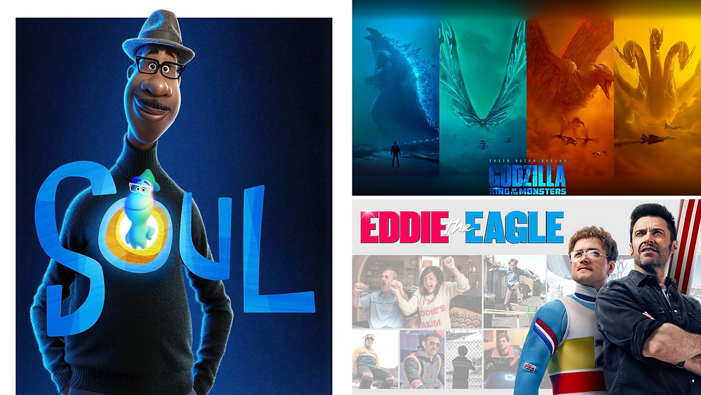 Compilation of images metadata on Soul, Disney production from 2020, Godzilla King of the Monsters, production from Legendary Pictures, 2019 and Eddie the Eagle, production from Marv Films, 2016.