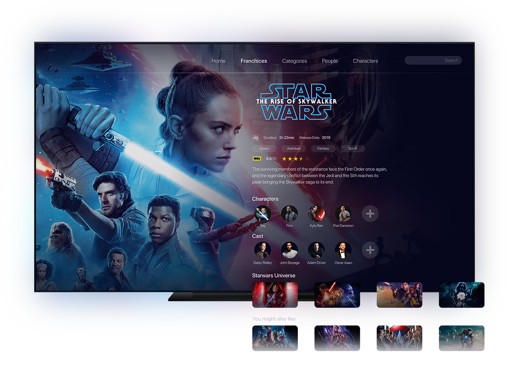 TV interface Star Wars, The Rise of Skywalker, TV metadata on duration, release date, IMDb rating, characters, cast, Star Wars film collection, and movie recommendations