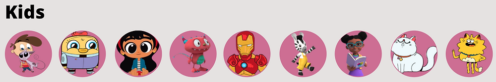 User interface concepts to showcase tv data by using png images of kids characters. Featuring Kids vs Kat, Disney 2008, Space Chickens in Space, Disney XD, 2018, Iron Man, Marvel Studios