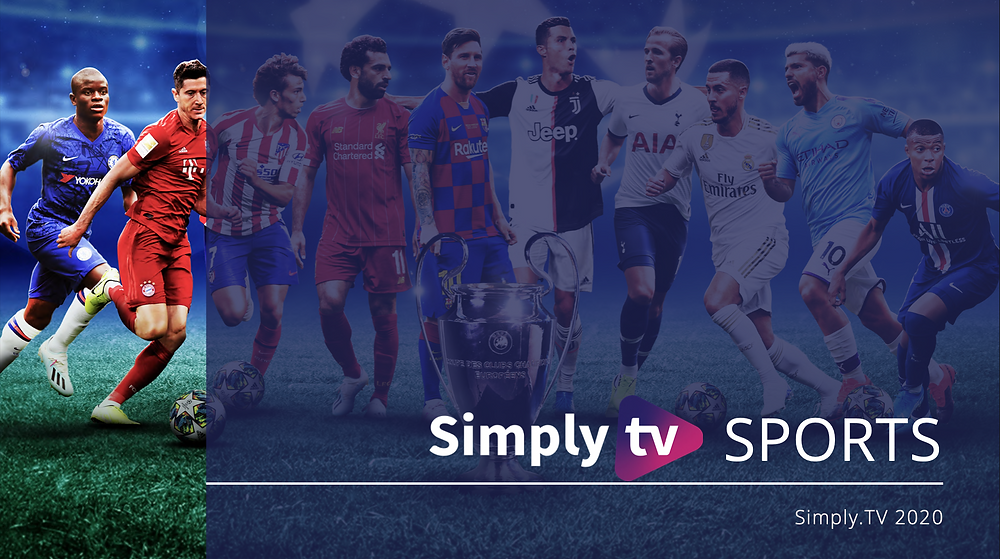 Simply.TV Sports Metadata image from 2020 showcasing a scene from Champions League. The image features: Lionel Messi, Cristiano Ronaldo, Mo Salah, Joao Felix, Robert Lewandowski, N'Golo Kante, Harry Kane, Eden Hazard, Kun Aguero, Kylian Mbappe