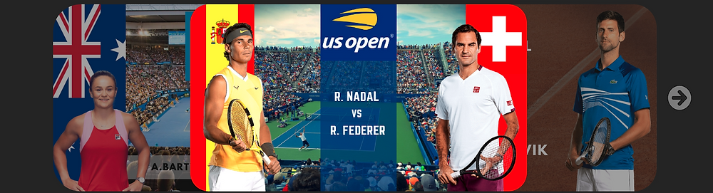 User interface for the US Open, R.Nadal vs R. Federer. Sports Metadata, UX & UI concepts