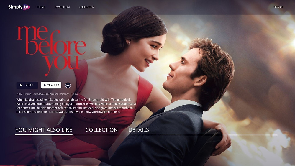 User interface showcasing the usage of tv metadata in creating better user experiences. Me before you, romantic drama from 2016, produced by New Line Cinema where the visible data fields are title, PNG title treatment, description, production year and genres