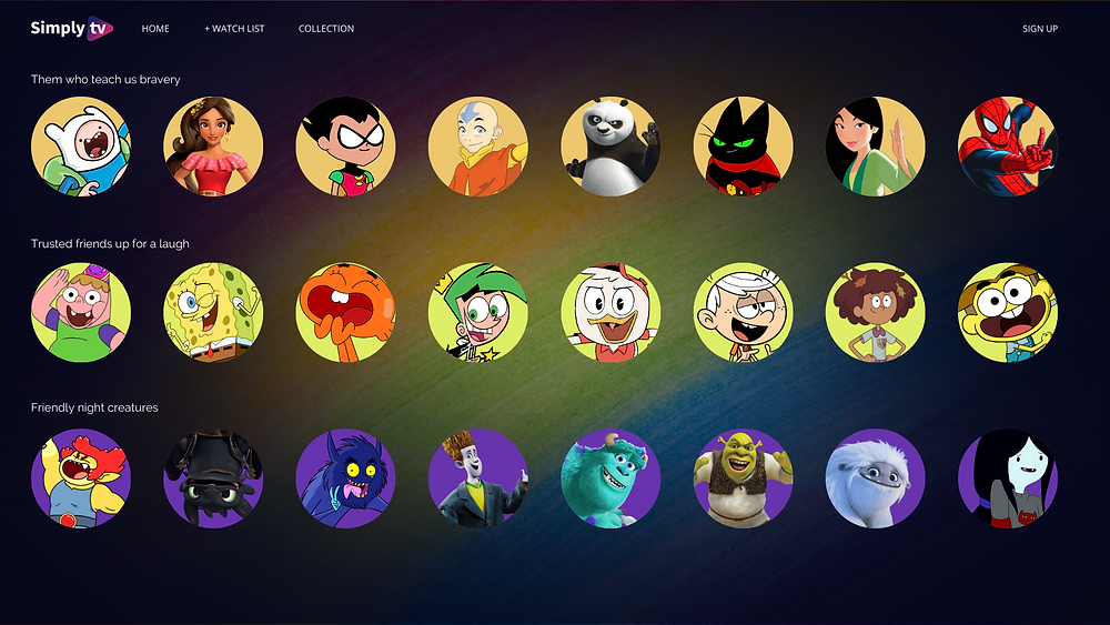 Kids metadata interface showcasing character profiles for kids characters separated by content carousels in a PNG format