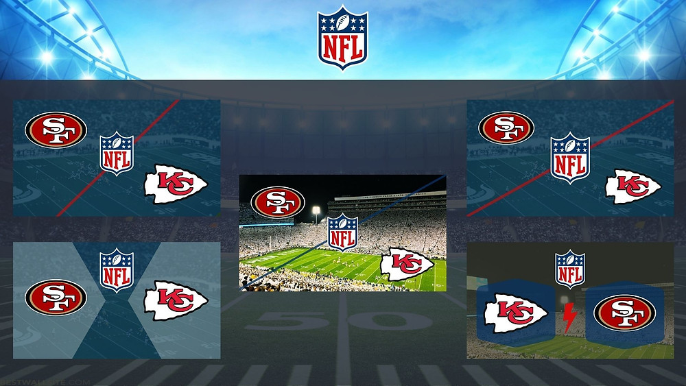 Different sports metadata composite images for the National Fooball League, NFL. The featured teams are SF, San Francisco 49ers and KS, Kansas City Chiefs.