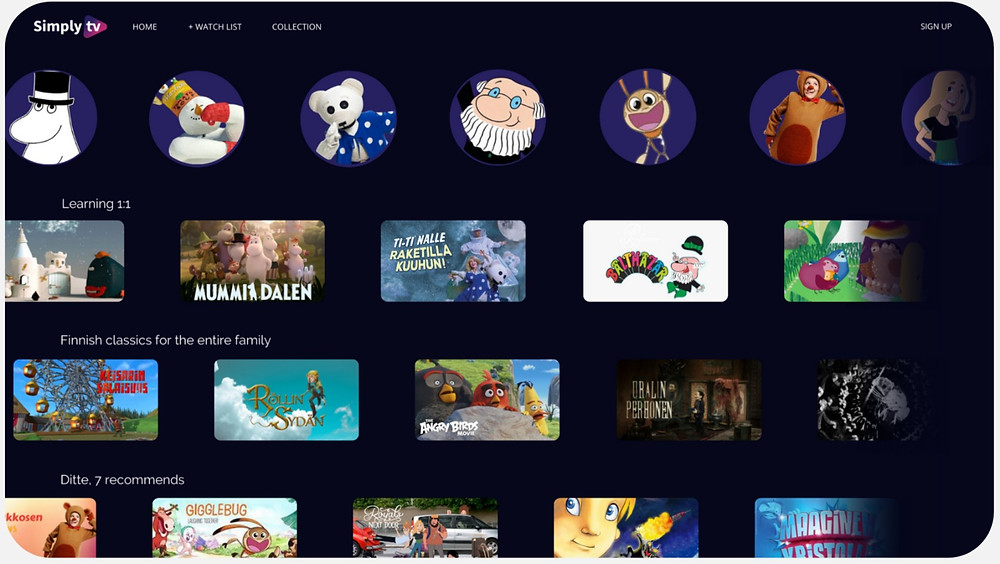 Kids universe metadata for the Finnish market, where content carousels and kids characters metadata are shown