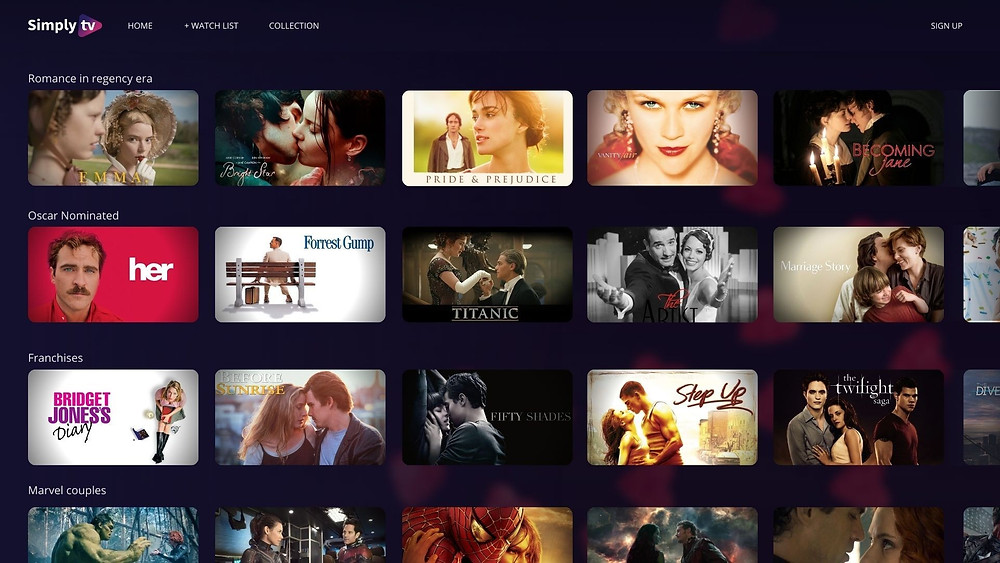 UX/UI TV metadata showcasing collections based on keywords. Featured movies are: Her, Forest Gump, Titanic, Becoming Jane, Step up, Bridget Jones's diary, The Twilight Saga and a series of Marvel couples
