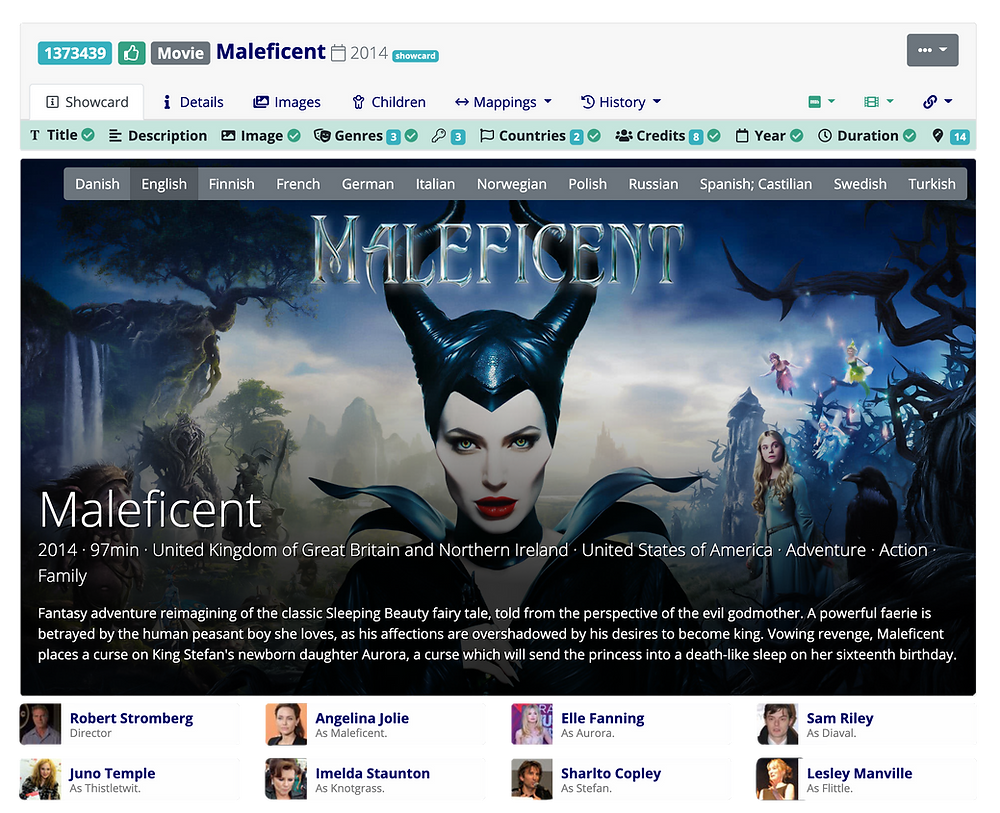 Metadata editorial interface showcasing Maleficent, Disney movie from 2014 featuring Angelina Jolie. Amongst other elements, it includes the core metadata fields of description, title, production year, production country, genres and cast & crew. Metadata description in several languages is also provided.