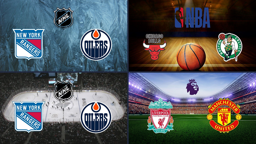 Team vs team composite images for sports metadata and images metadata featuring NHL, NBA and Premier League