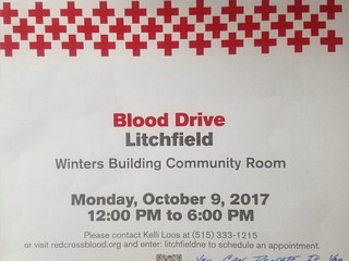 RED CROSS BLOOD DRIVE- Monday, October 9, 2017 from 12:00pm-6:00pm @Winters Building