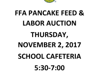 FFA Pancake Feed & Labor Auction, Thursday, November 2, 2017 from 5:30-7:00 pm