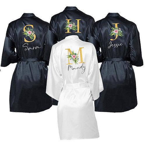 Personalized Monogram Name Wedding Party Bathrobe Silky Soft