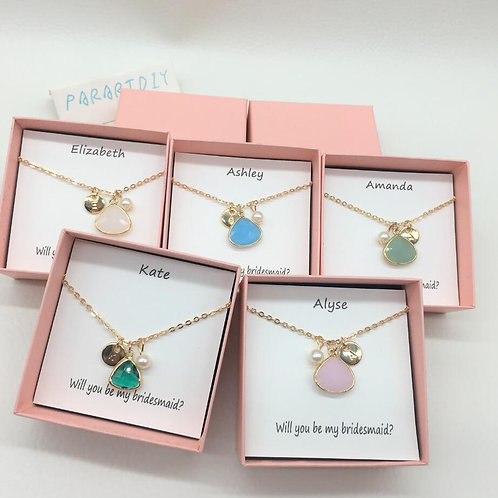 Personalized Wedding Bridesmaid Proposal Birth Stones Necklace