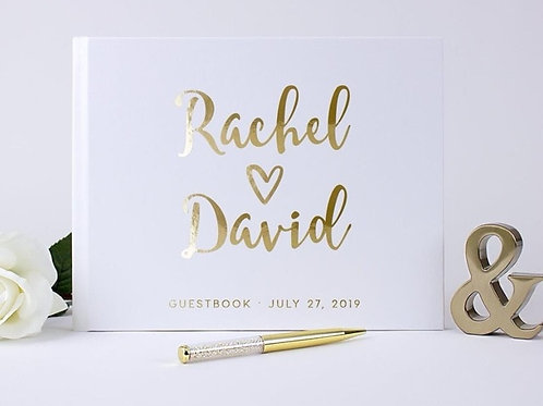 Personalize Guest Book Gold Calligraphy Guestbook Wedding Journal