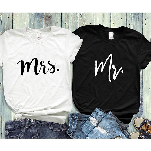 Couple Tshirt His and Hers Mr Mrs Husband and Wife T Shirts Matching Wedding