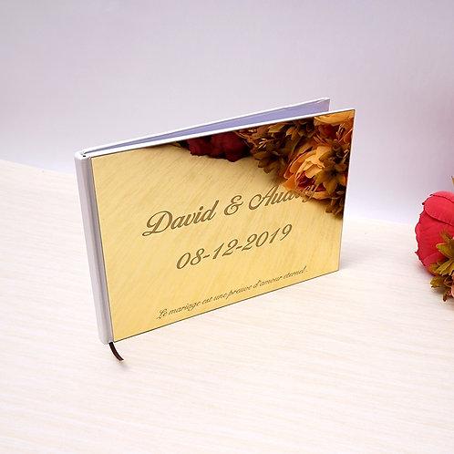 "Personalized 10""x 7"" Wedding Signature Guest Book Acrylic Mirror Photo Album"